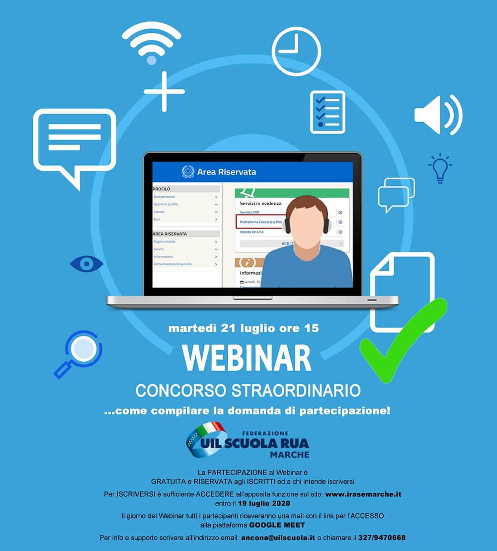 Locandina Webinar 31 luglio: CONCORSO ORDINARIO… come compilare la domanda di partecipazione