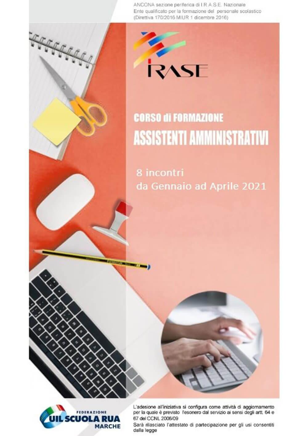 Locandina del Corso Irase di formazione Assistenti Amministrativi