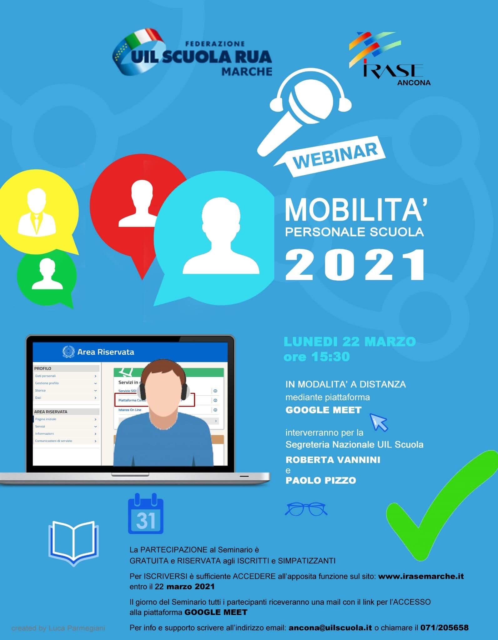 locandina Webinar MOBILITA' PERSONALE SCUOLA 2021